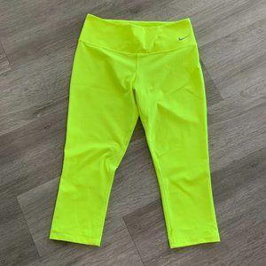 Nike Capri Dri-Fit Golf Workout Leggings Yellow S